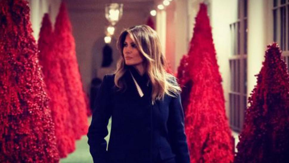 Melania Trump is having a blood red Christmas this year at the White House.