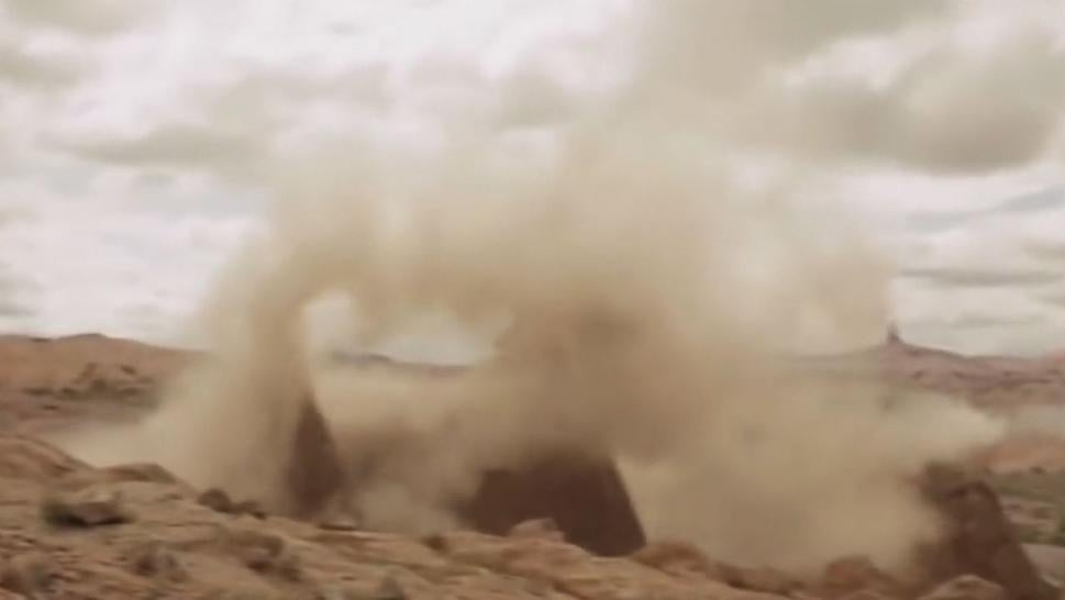 The footage of the Utah rock formations exploding has people questioning its authenticity.