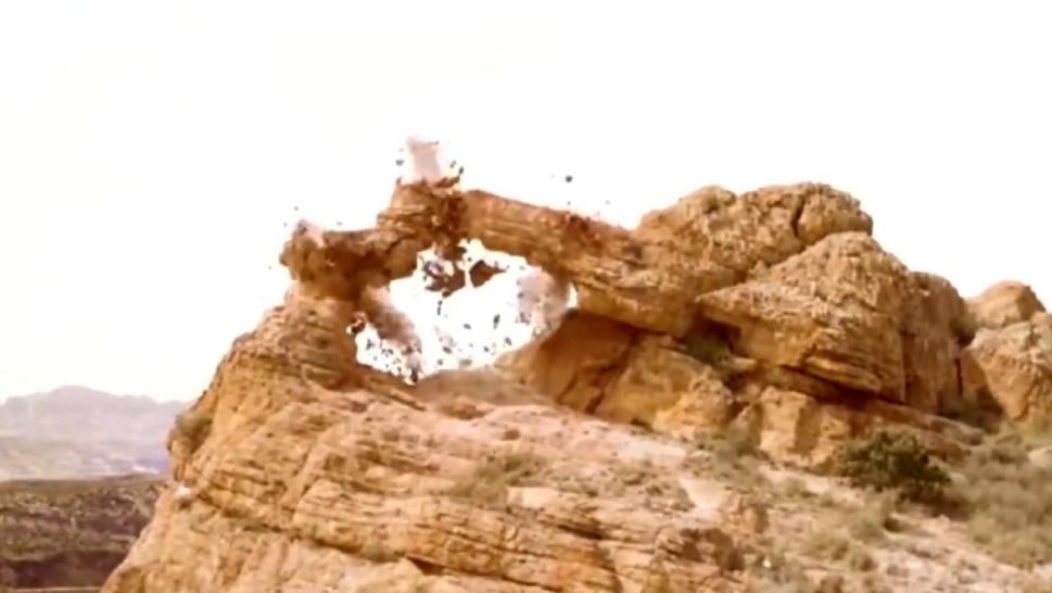 Rock formation being blown up