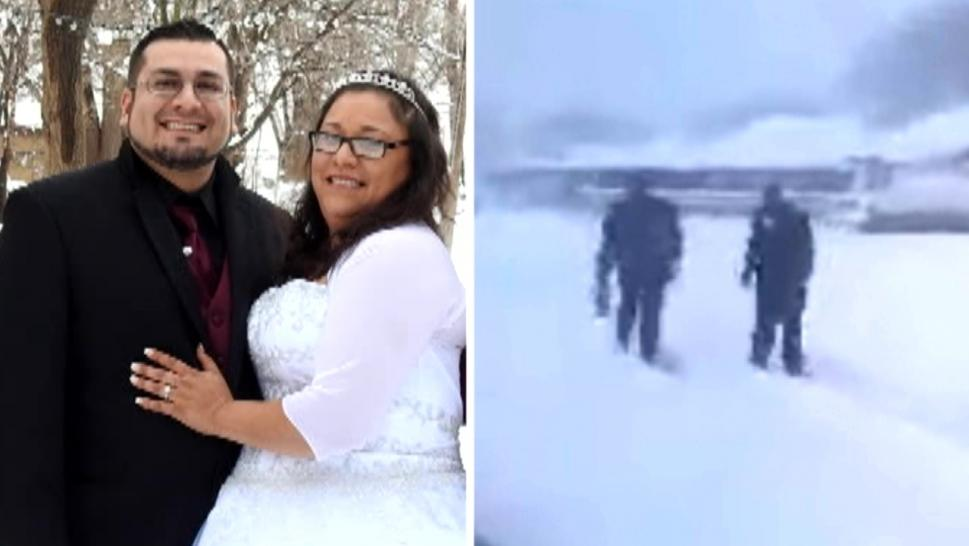 Groom walking through ten inches of snow