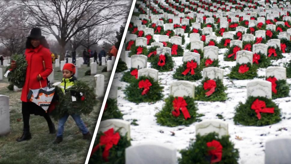 Wreaths laid on graves