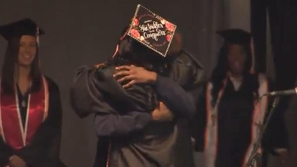 Military Airman Surprises Sister at College Graduation