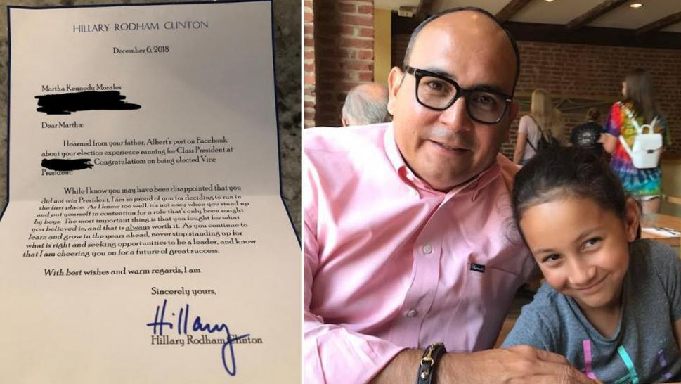 Martha Kennedy Morales and her dad, Albert, were very excited about getting a letter from Hillary Clinton.