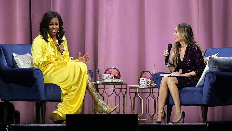 Michelle Obama sports gold boots by Balenciaga.
