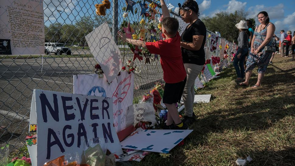 A memorial set up outside Marjory Stoneman Douglas High School in Parkland, Florida.