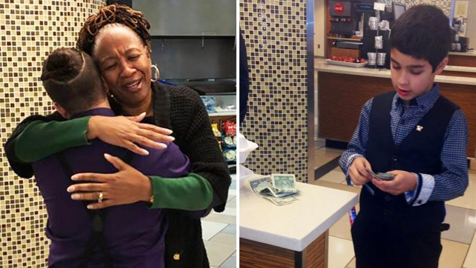 Jerry Hatcher Jr., 13, embraces a woman after he paid for her meal at the Scottish Rite Hospital at Children's Healthcare of Atlanta.