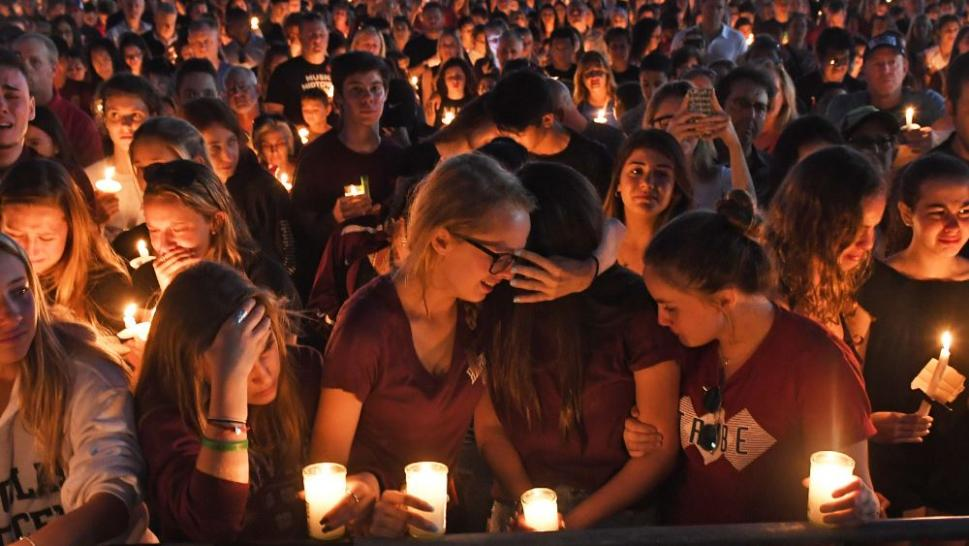 Hundreds of students gather to mourn the killings at Marjory Stoneman Douglas High School.