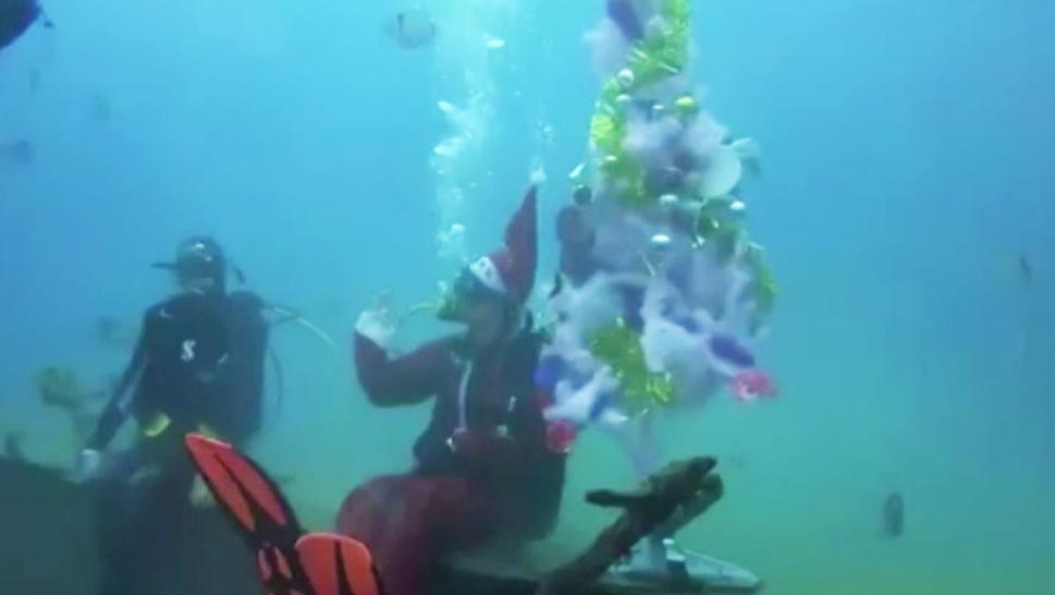 A diver dresses in a Santa Claus costume as he decorates a ship wreck.