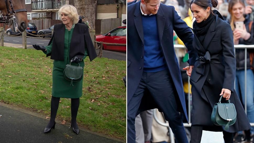 Camilla Parker-Bowles carries a bag that appears similar to one Meghan Markle toted last year.