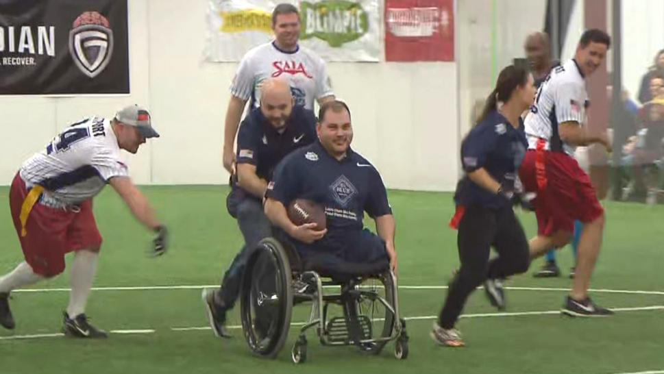 Wounded Warriors play football with former NFL players