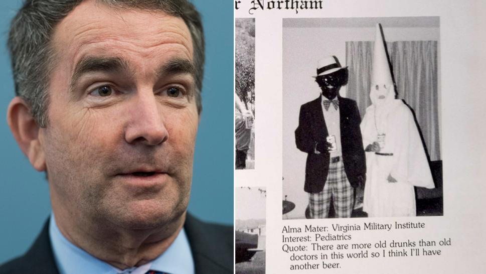 Virginia Gov. Ralph Northam apologized Friday for a photo on his medical school yearbook page that depicts two people, one in blackface, the other in a Ku Klux Klan robe.