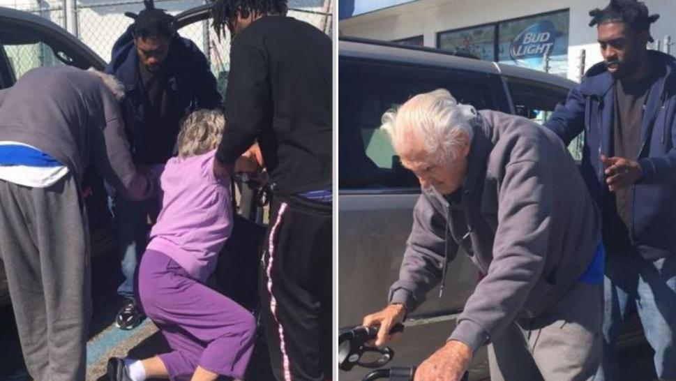 Video of three young men helping an elderly couple has gone viral.