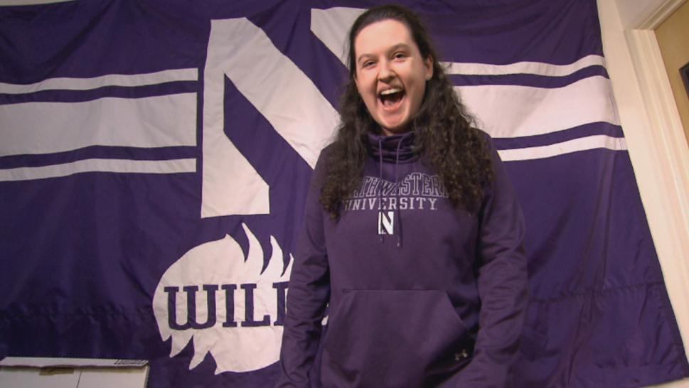 Emily Harriott is a devoted Northwestern University basketball fan who is renowned for her ear-piercing shriek.