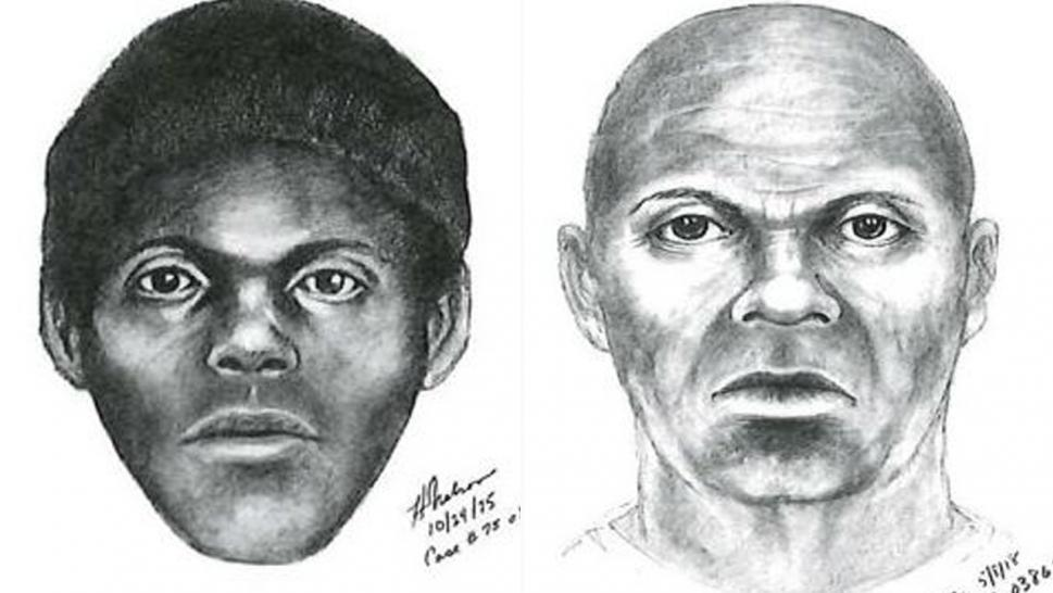 Authorities shared a new sketch of what the Doodler may look like today based on age progression (right). They also shared the original sketch drawn of the suspect (left). At the time of the killings, the suspect was believed to be between 19 and 25 years old.