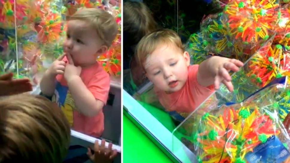 Baby stuck in claw machine