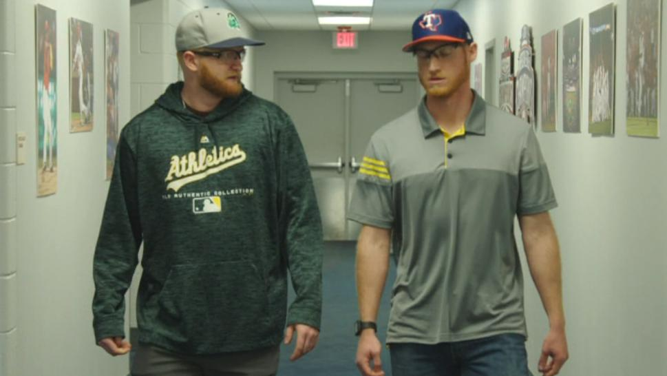 Inside Edition brought these two look-alike baseball players, both named Brady Feigl, together to see if they're twins.
