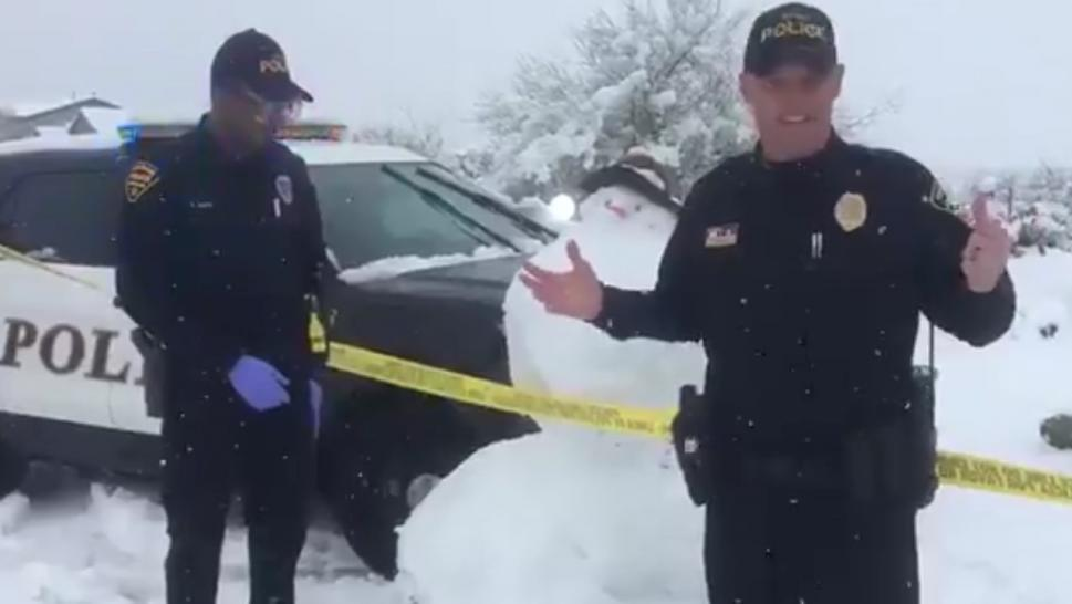 "Police in Tucson, Arizona, jokingly warned residents to beware a ""suspicious white powdery substance"" after the city saw rare snowfall recently."