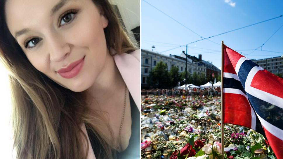 Emma Martinovic (left) survived being shot by Anders Behring Breivik during his rampage in two attacks that killed 77 people on July 22, 2011. A makeshift memorial was erected outside the Cathedral in Oslo (right) following the attacks.