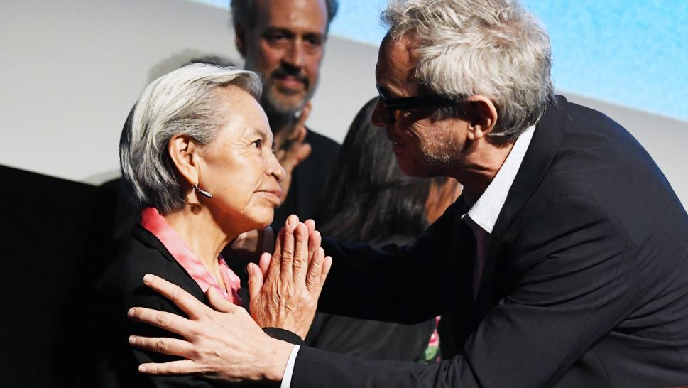 "Alfonso Cuaron honors Liboria ""Libo"" Rodriguez during the 'Roma' premier at the New York Film Festival."