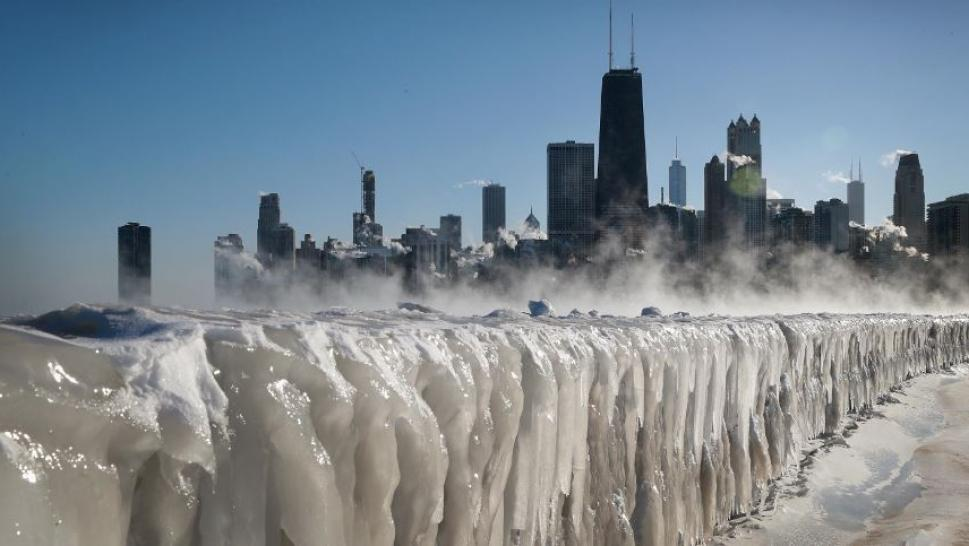 Ice along Lake Michigan.