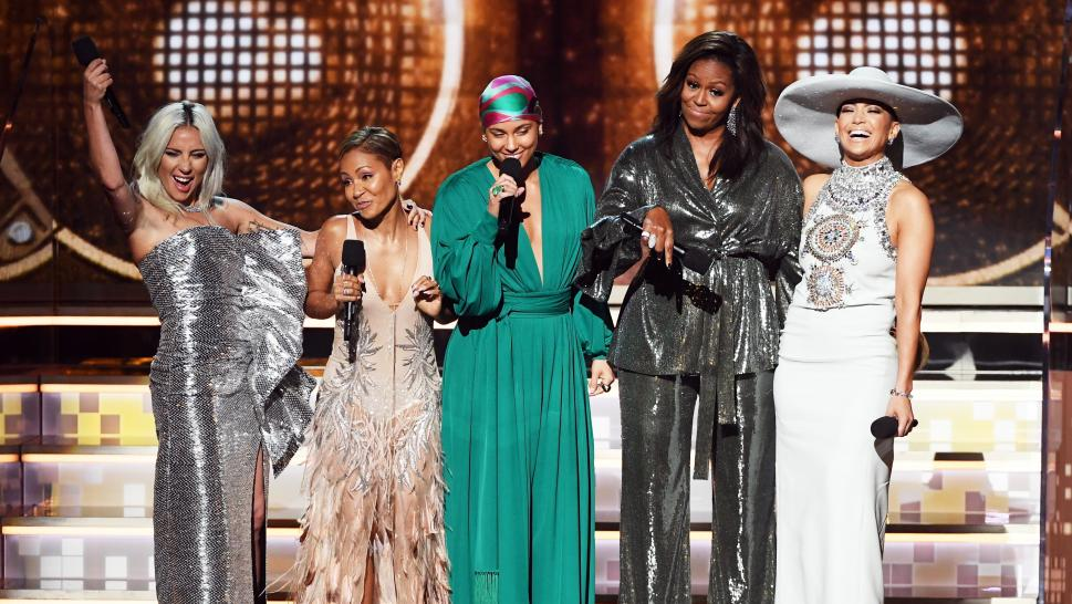 Lady Gage, Jada Pinkett Smith, Michelle Obama and Jennifer Lopez onstage at the 2019 Grammy Awards.