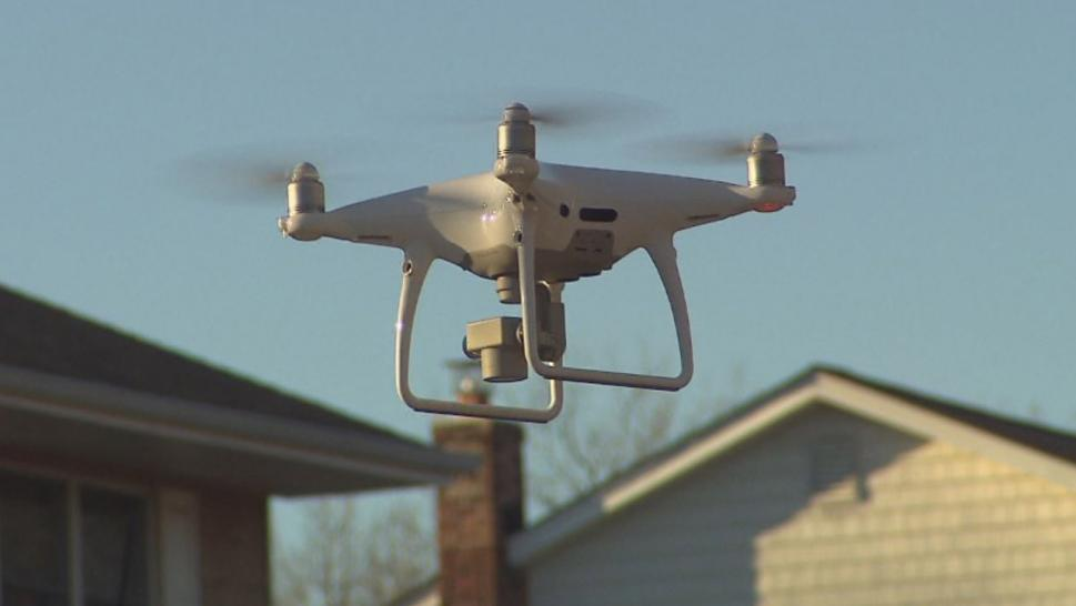 The drone was shot out of the sky while it was looking for a lost dog.