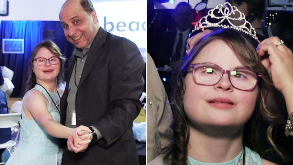 Mary Faith Musella, 15, shares a dance with her dad and gets a crown at the end of the night.