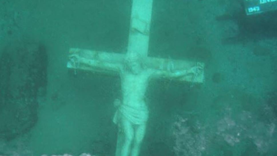 A crucifix at the bottom of Lake Michigan will be visible on Saturday.
