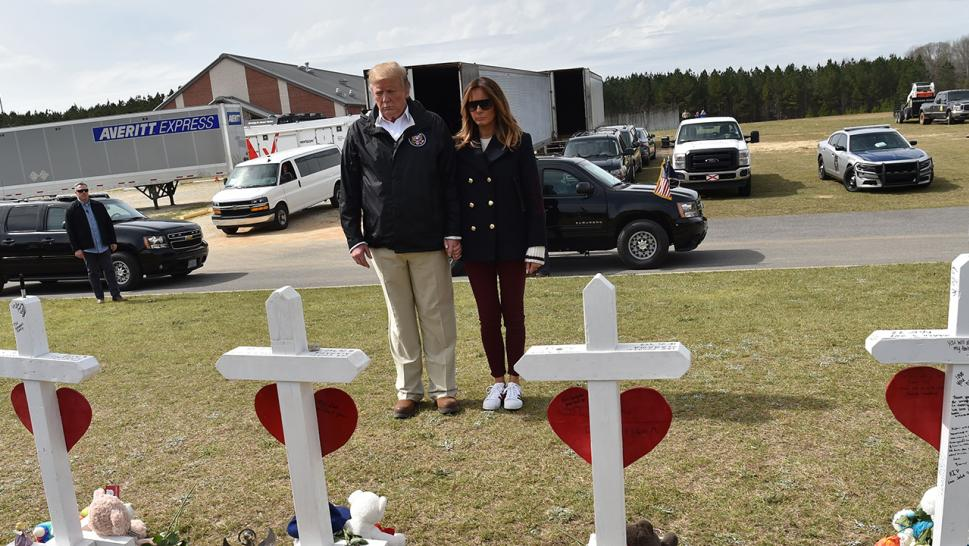 A recent trip to Alabama to see the devastation wreaked by recent tornadoes had some wondering whether President Trump had brought along a body double to stand in as his wife, Melania Trump.