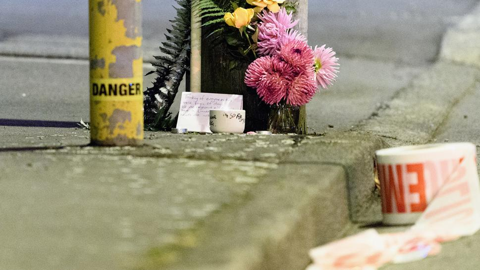 This image shows a floral tribute left for the victims of New Zealand's mass shooting.