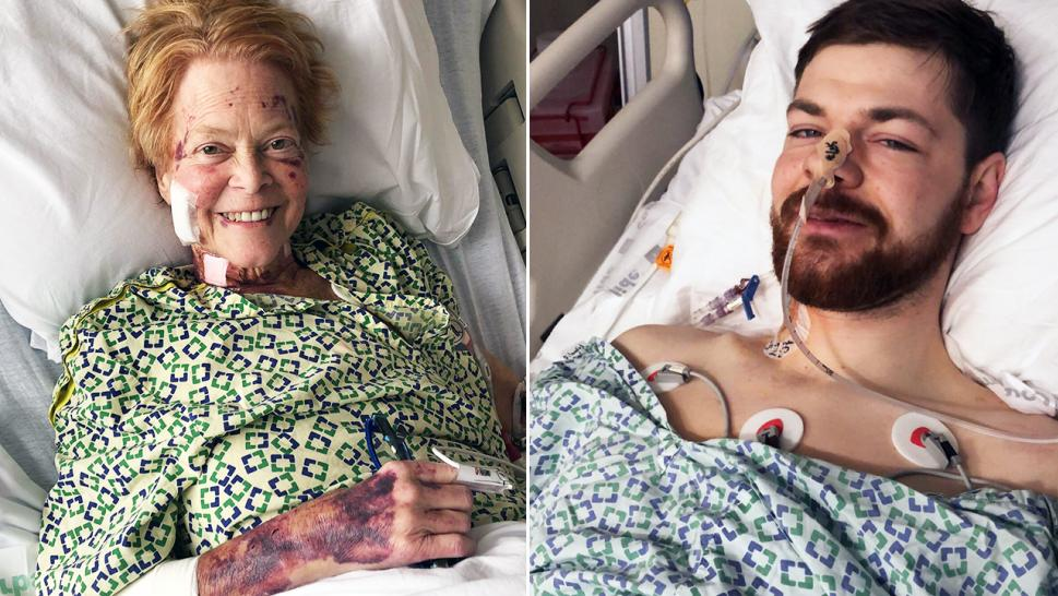 71-year-old Bernice Ramsey, right, and 26-year-old Cody Corwin, left, recover after the transplant surgery.