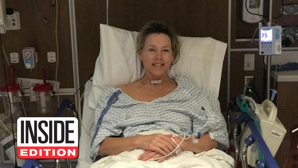 Inside Edition anchor Deborah Norville is pictured here one hour after undergoing surgery to remove a cancerous thyroid nodule.