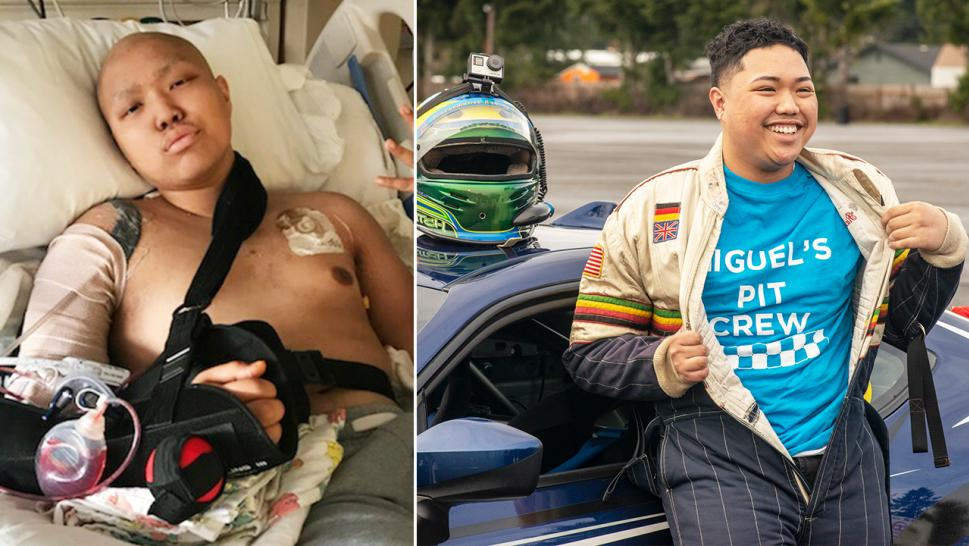 Miguel Navarro, 18, spent the day on the racetrack after a lengthy battle against osteosarcoma.