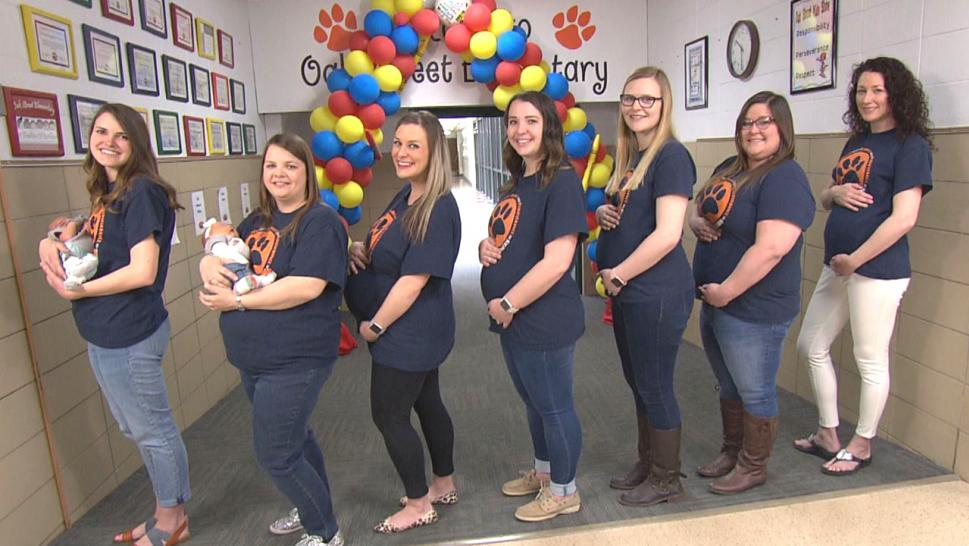 Seven teachers at a school in Goddard, Kansas, are all pregnant