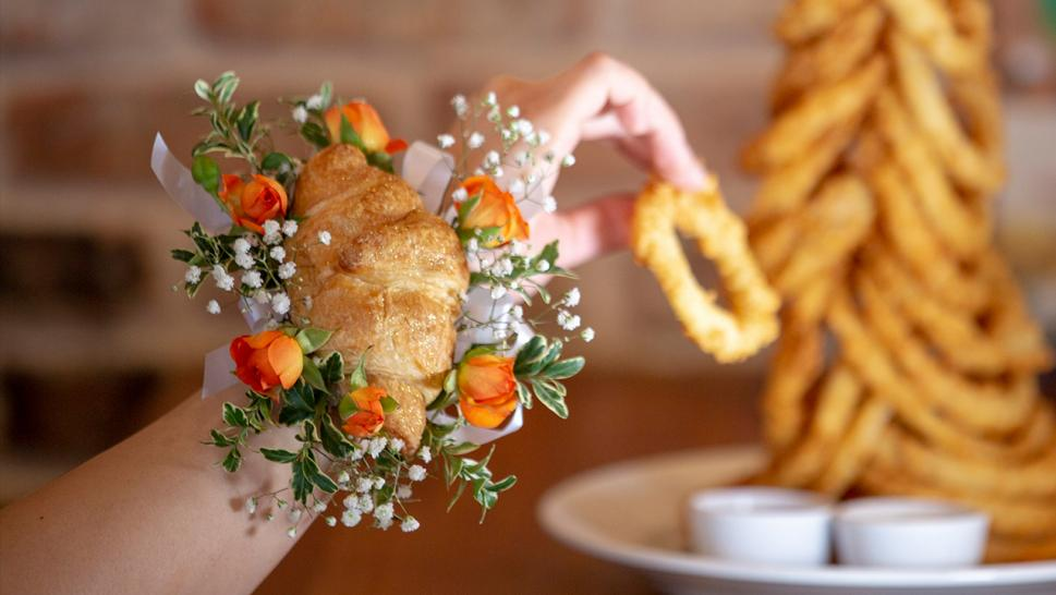 Cheddar's Scratch Kitchen in Dallas is making croissant corsages this prom season.