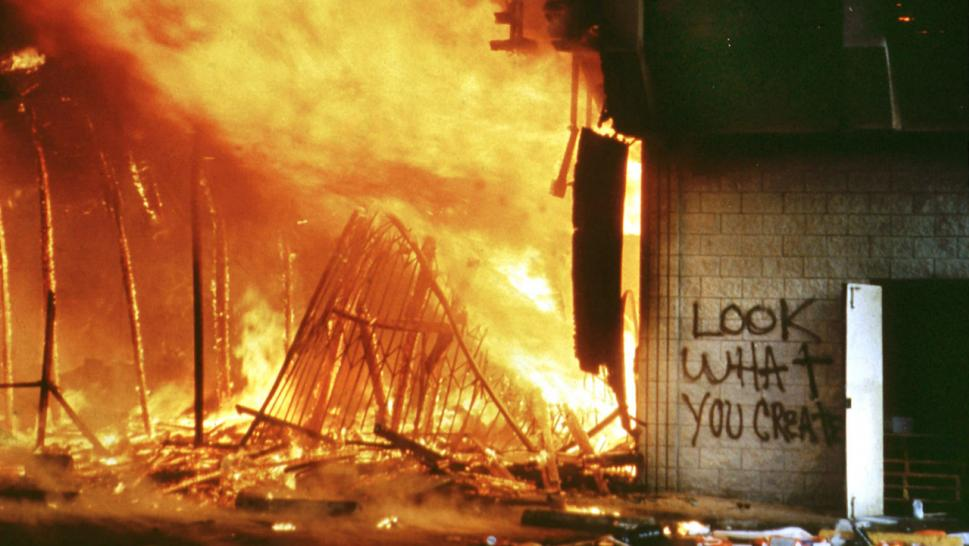 The riots broke out after four LAPD officers were acquitted in the beating of Rodney King.