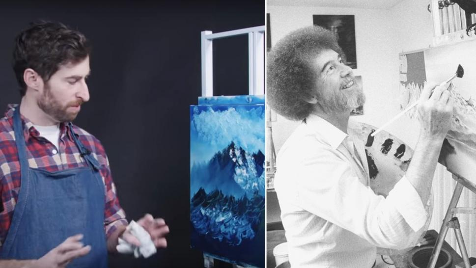 HQ Trivia's Scott Rogowsky attempts to paint along to a Bob Ross tutorial.