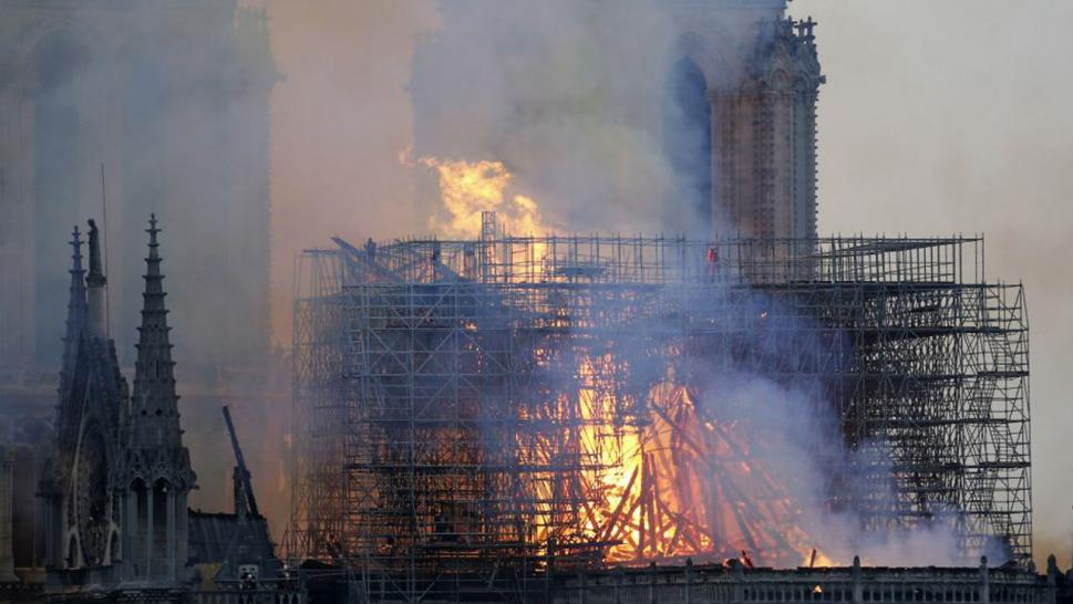 An image making the rounds online appears to show the figure of Jesus Christ amid the flames ravaging Notre Dame.