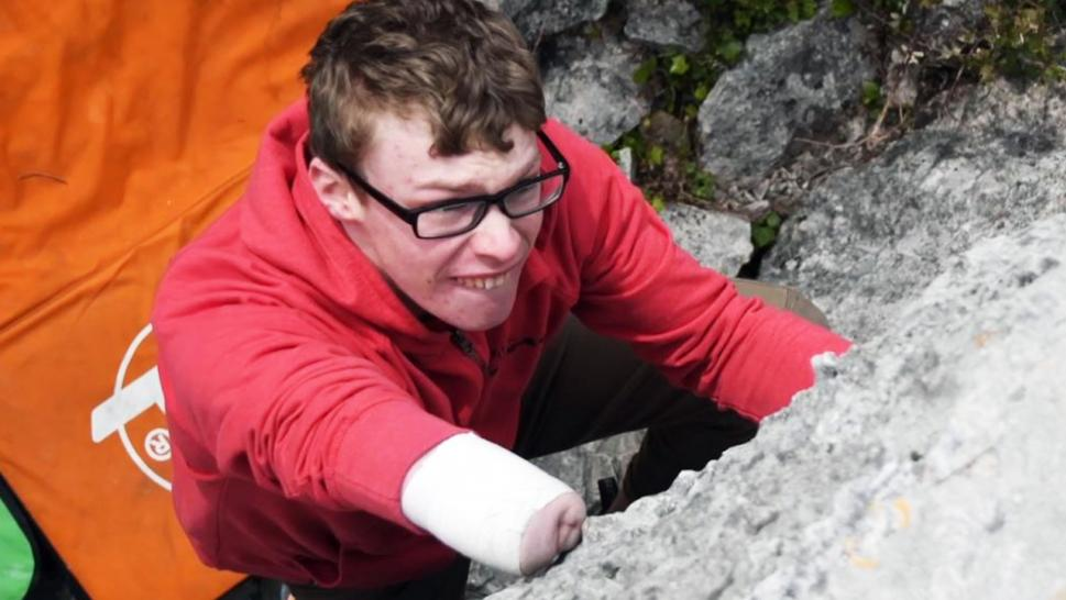 Matthew Phillips, 18, climbs mountains using one arm.