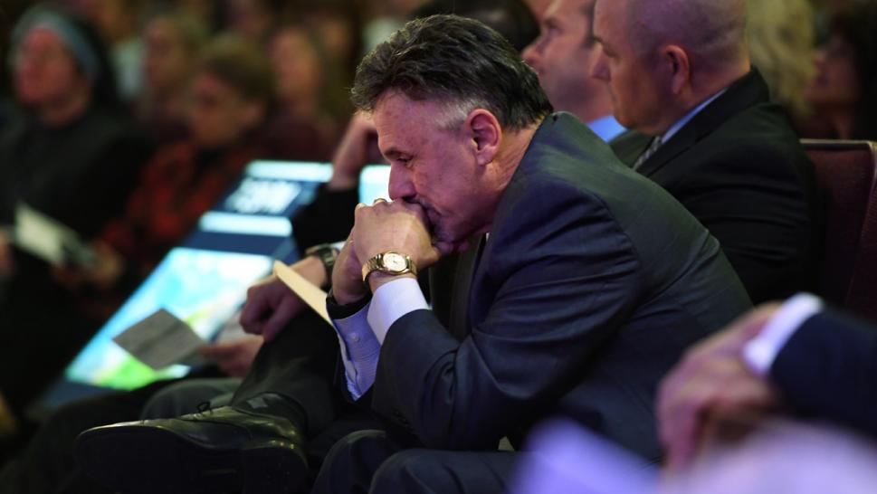 Frank DeAngelis, who was principal of Columbine High School, reflects during a memorial service.