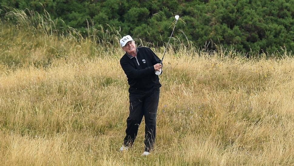 Trump plays golf in Turnberry, Scotland