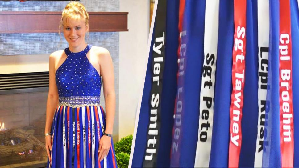 Aubrey Headon from Illinois wore a blue gown to her school dance embellished with special ribbons.