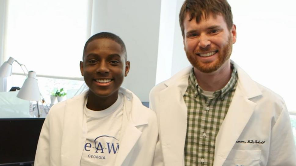 Teen cancer victim Matthew Gould and Dr. Ryan Summers.