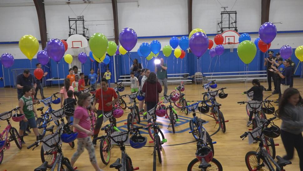 Kids Cheer After Being Surprised With New Bikes