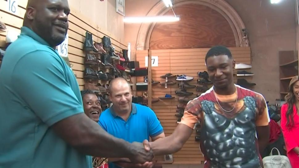 Shaquille O'Neal surprised Zach Keith with new shoes.