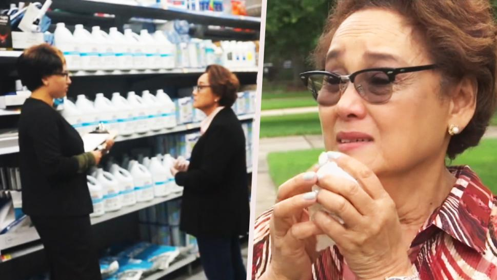 Woman cries after prank