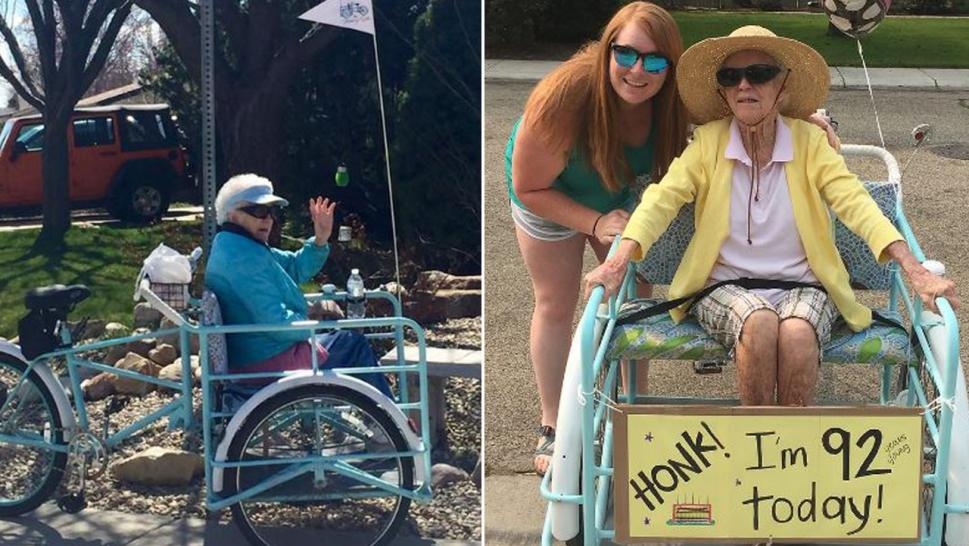 The Blessing Bike helps the aged and infirm get outside to smell the roses.