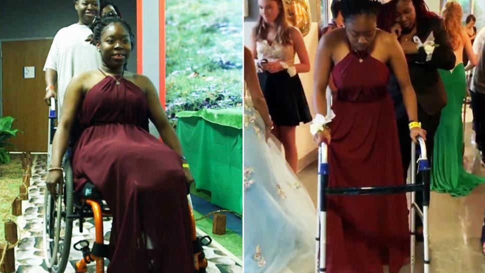 Tamesha Simmons, 17, went from wheelchair to prosthetics during her prom.