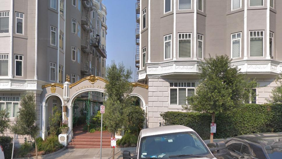 The outside of Elizabeth Holmes' former building, Lombard Place Apartments.