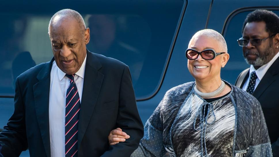 Bill Cosby and wife Camille outside court